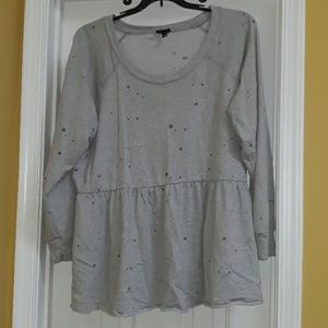 Distressed Peplum Sweatshirt